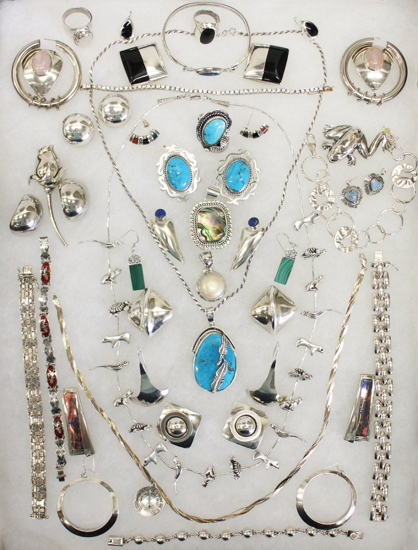 VINTAGE STERLING SILVER & TURQUOISE JEWELRY