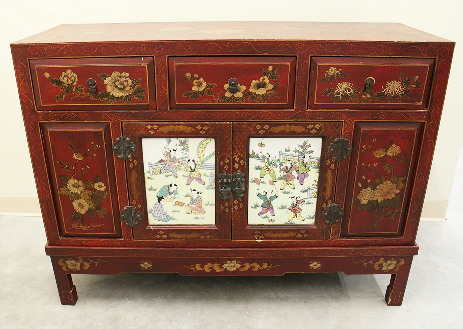 CHINESE RED CHEST ON STAND