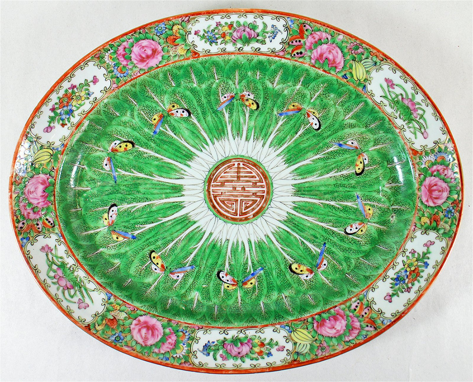 19th CENTURY CHINESE EXPORT ROSE CANTON PLATTER