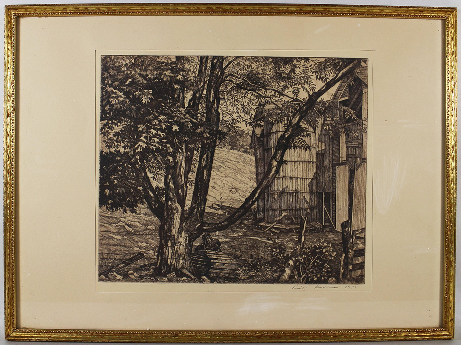 "LUIGI LUCIONI ""THE BIG SHADOW"" SIGNED ETCHING"