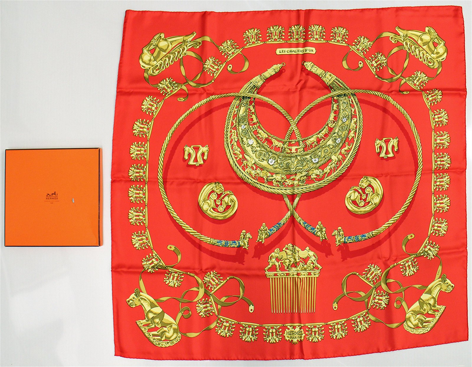 HERMES LES CAVALIERS D'OR SCARF W/ BOX