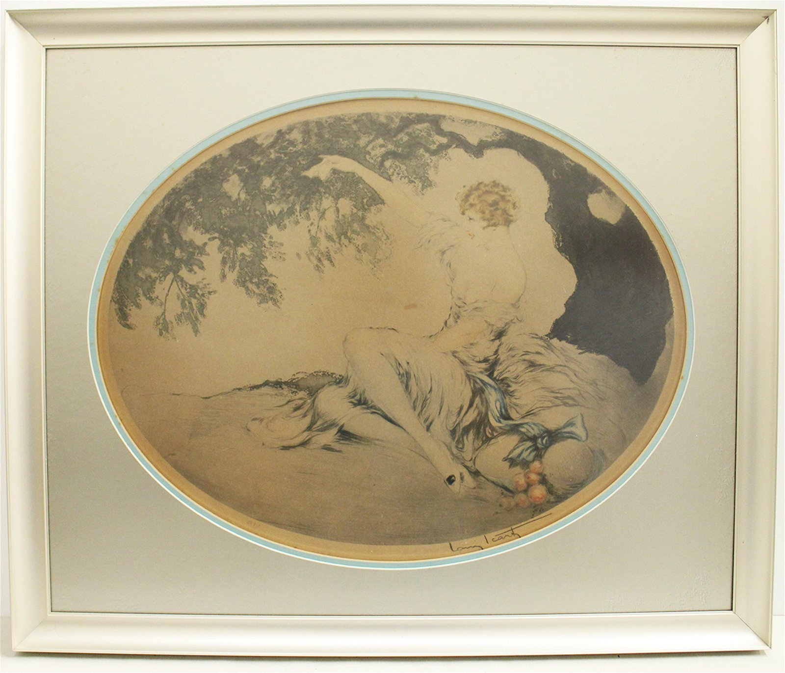 LOUIS ICART WOMAN WITH TREE ETCHING