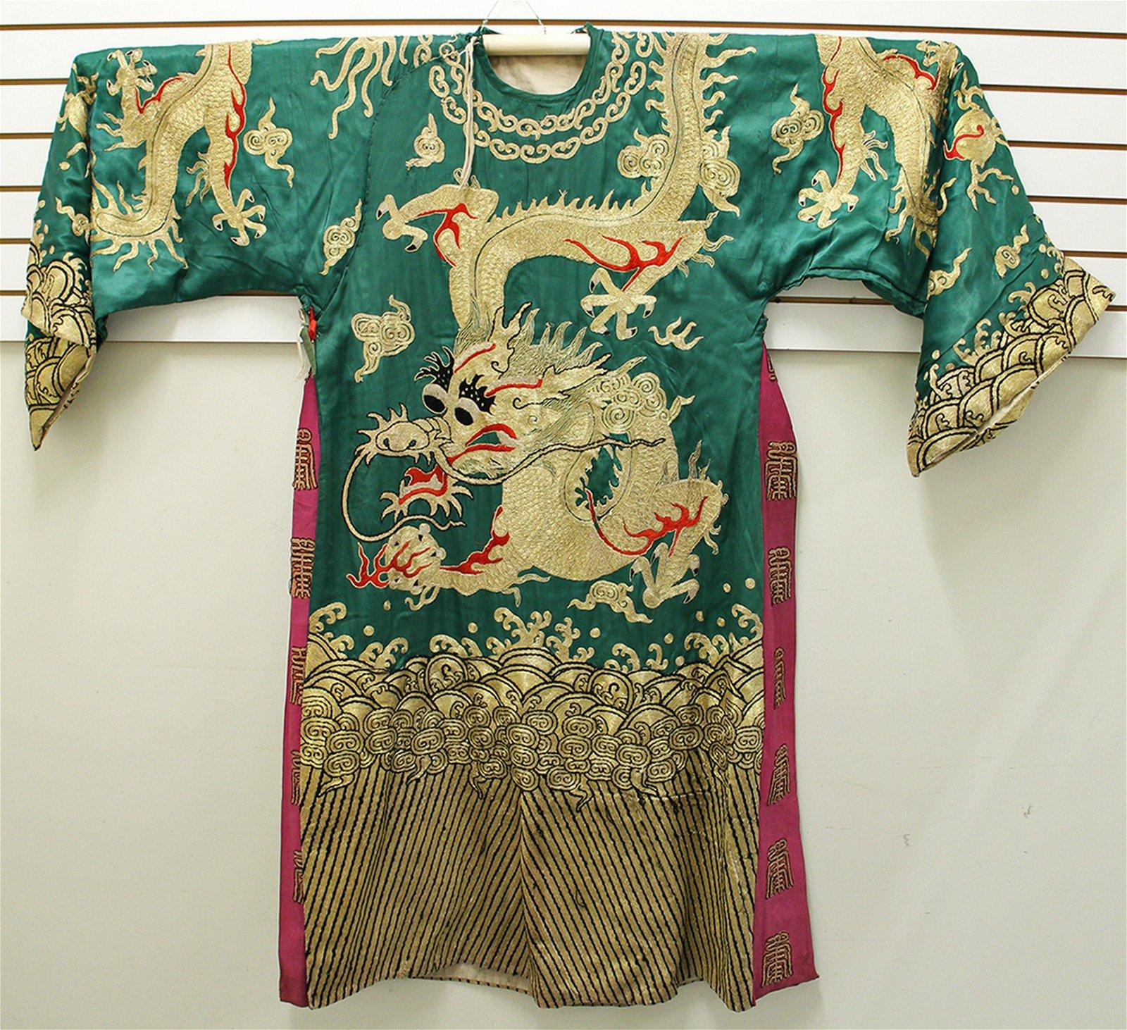 JAPANESE GREEN SILK KIMONO ROBE