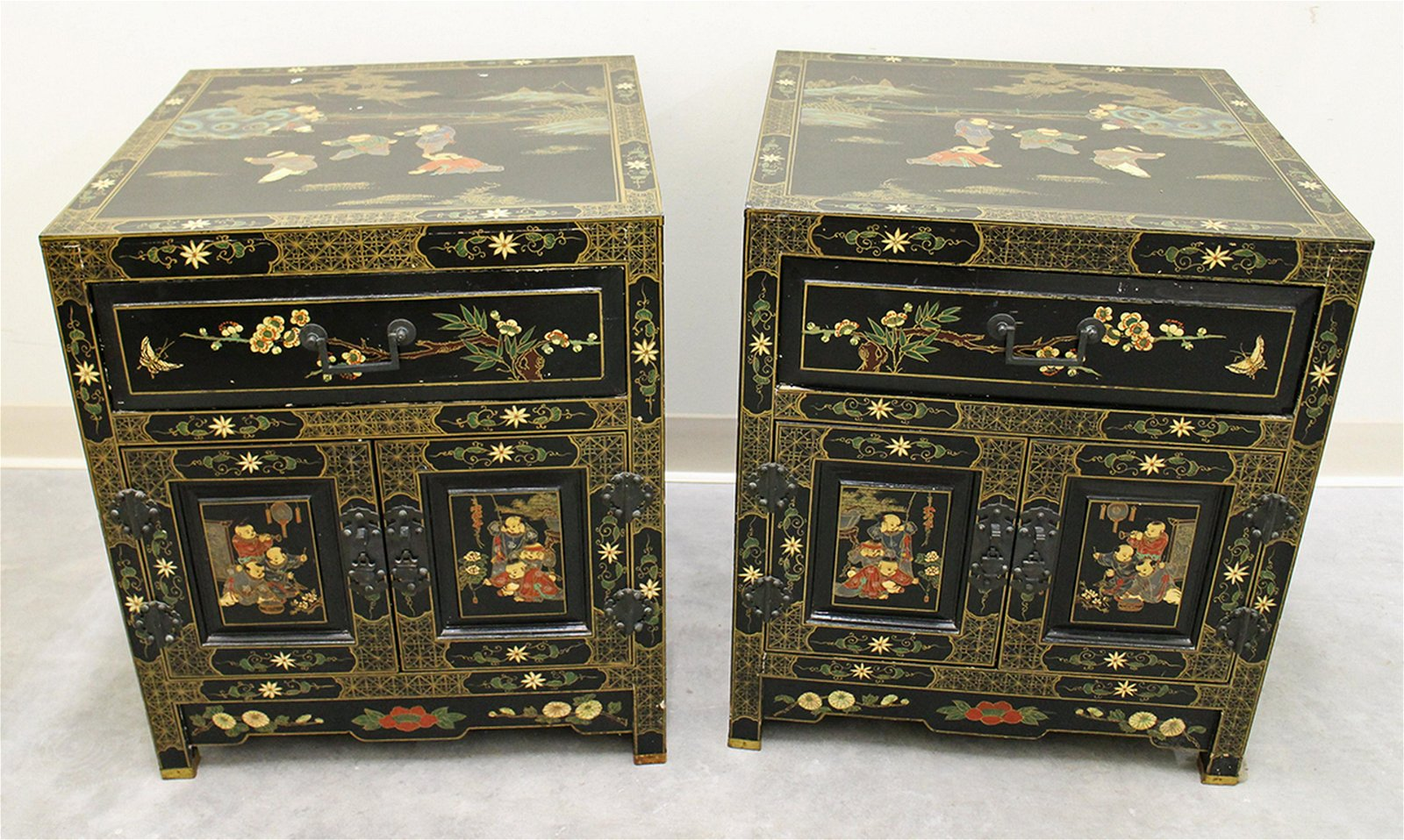 (2) ASIAN PAINTED NIGHTSTAND CHESTS