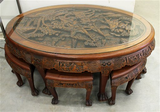 Cool Carved Chinese Tea Table With 6 Benches Gmtry Best Dining Table And Chair Ideas Images Gmtryco