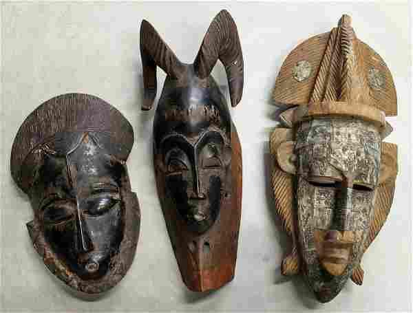 (3) AFRICAN CEREMONIAL MASKS