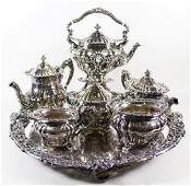 DURGIN STERLING SILVER TEA SET  SP TRAY