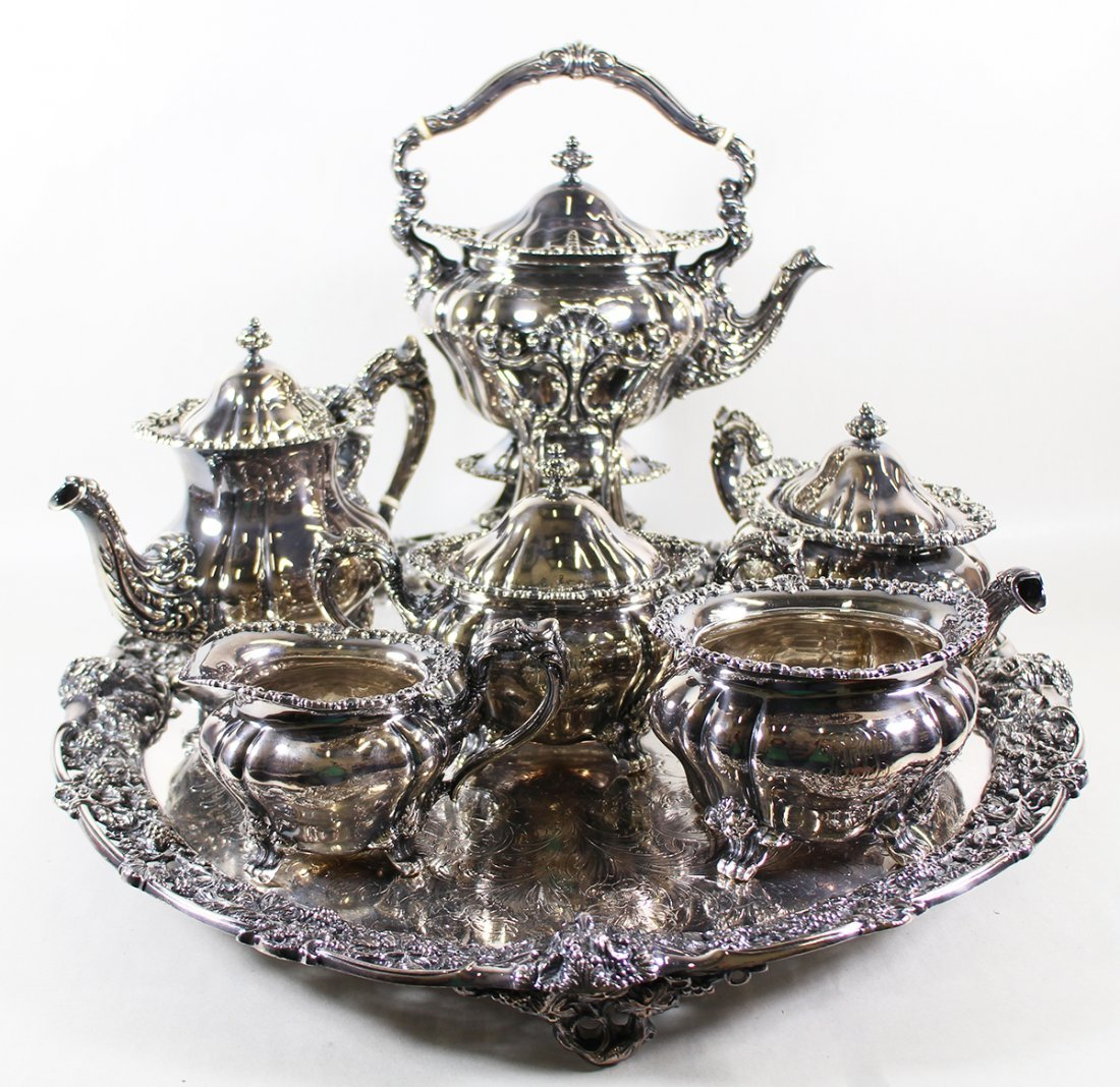 DURGIN STERLING SILVER TEA SET & S/P TRAY
