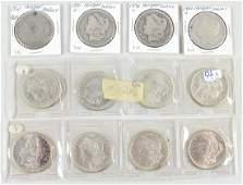 12 MORGAN SILVER DOLLAR COINS