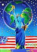 """PETER MAX """"PEACE ON EARTH"""" MIXED MEDIA PAINTING"""