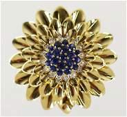 TIFFANY & CO 18KT SAPPHIRE & DIAMOND FLOWER BROOCH