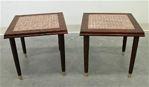 (2) MID CENTURY TILE TOP TABLES