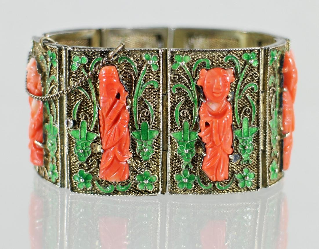 CHINESE SILVER FILIGREE CORAL BRACELET