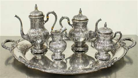 INTERNATIONAL STERLING SILVER TEA SET & TRAY