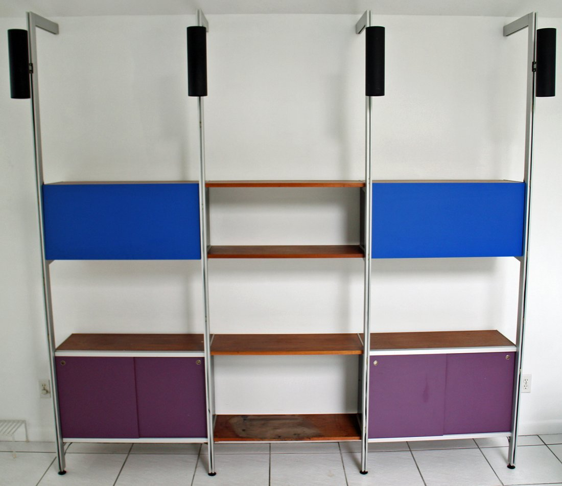 GEORGE NELSON MID CENTURY MODERN WALL UNIT WITH LIGHTS