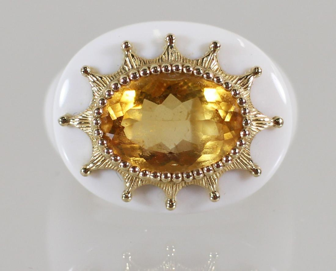 14K GOLD CITRINE MODERN RING