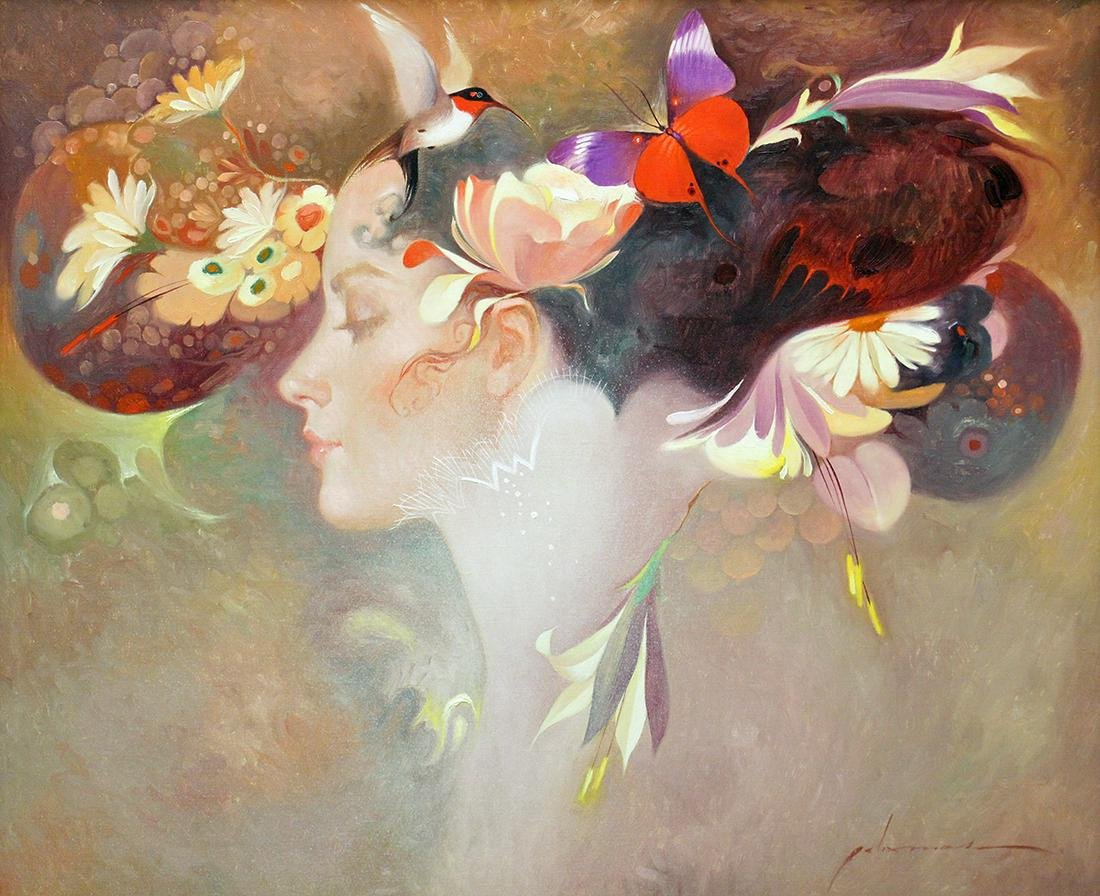 "FELIX MAS ""BIRD & BUTTERFLY FLOWERS"" PAINTING"
