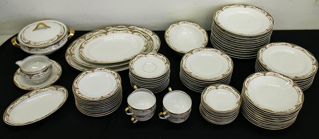 79 PC THEODORE HAVILAND LIMOGES PINK ROSES CHINA