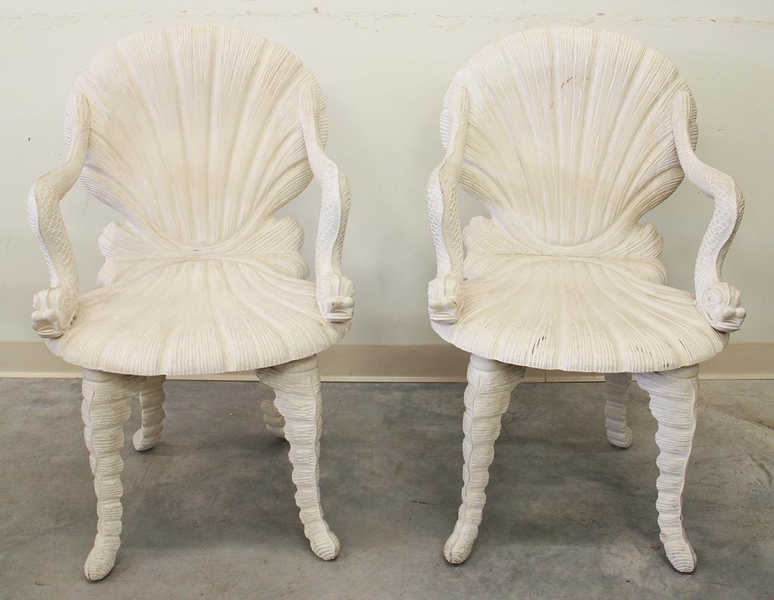 (2) MATILAND SMITH DOLPHIN SHELL GROTTO CHAIRS