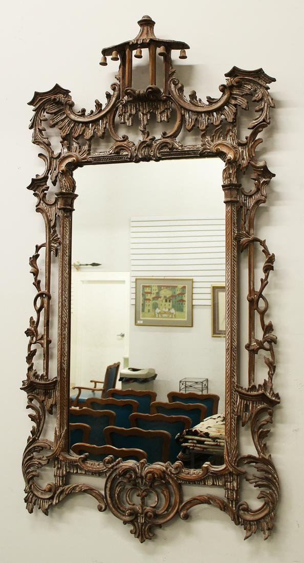 LARGE LABARGE CHINESE CHIPPENDALE STYLE MIRROR