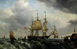 LARGE 18TH CENTURY SEASCAPE PAINTING