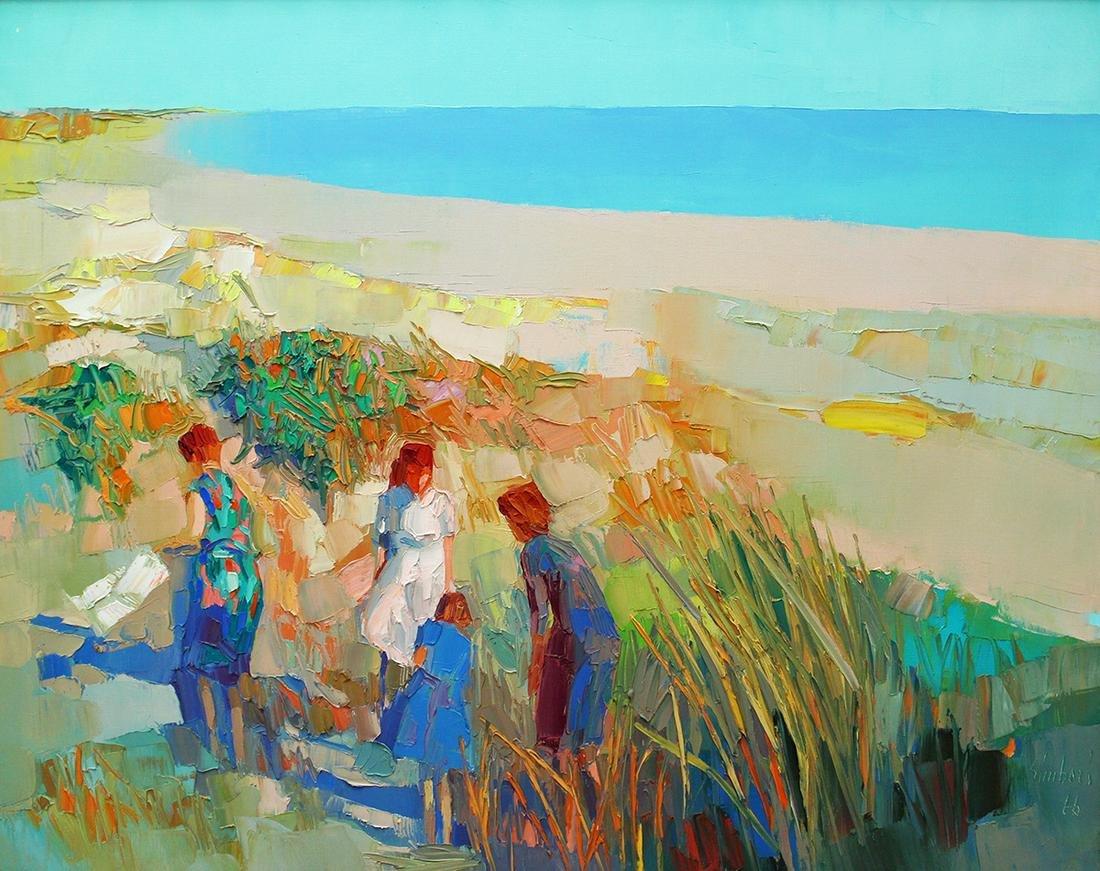 "NICOLA SIMBARI ""FIGURES BY THE SEA"" PAINTING"