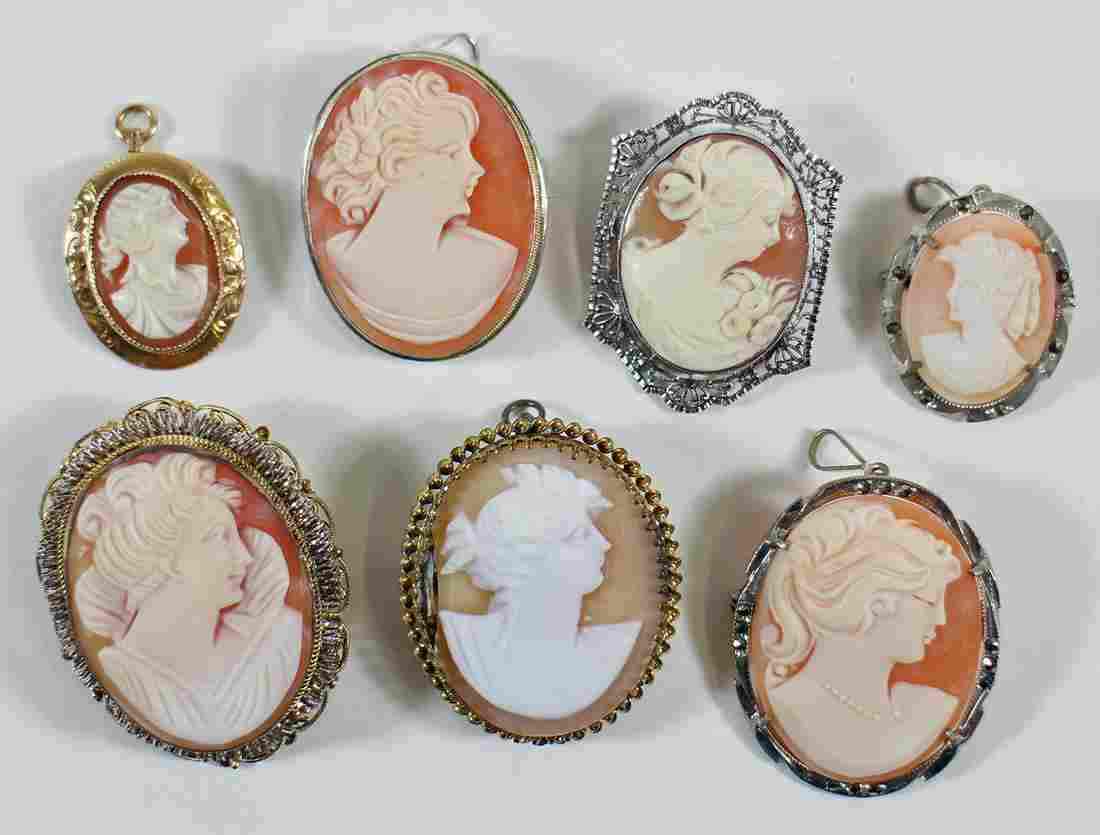 VICTORIAN CAMEO JEWELRY BROOCHES & PENDANTS