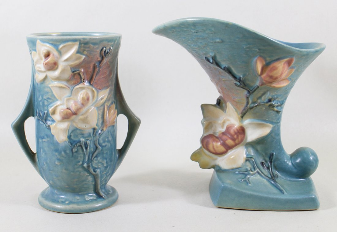 (2) ROSEVILLE MAGNOLIA POTTERY PIECES
