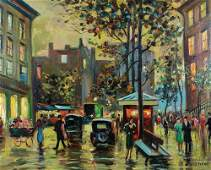 FRENCH STREET SCENE PAINTING - LECLERC