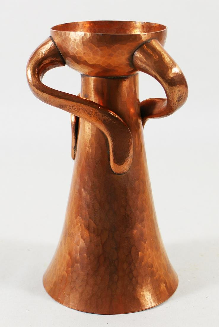 ARTS & CRAFTS HAMMERED COPPER CANDLESTICK