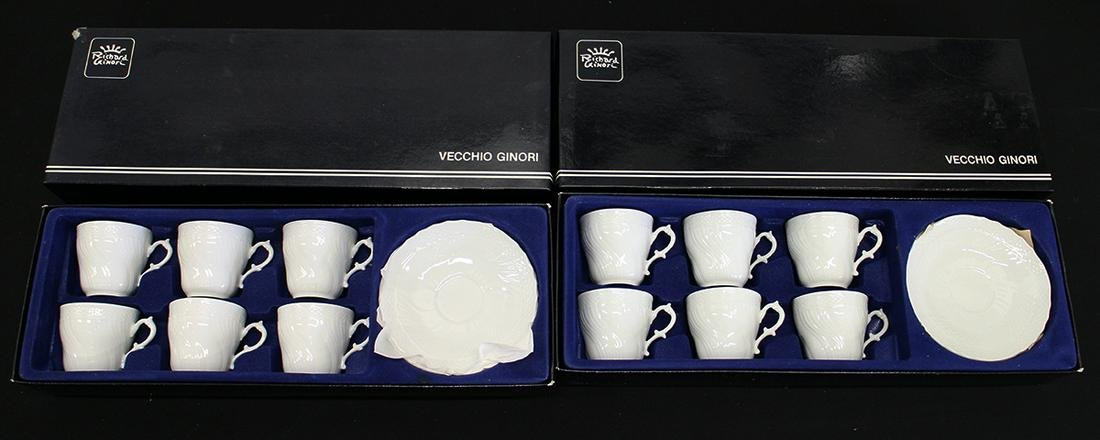 (2) RICHARD GINORI DEMITASSE CUP & SAUCER SETS