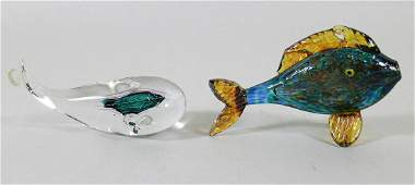 (2) SIGNED ART GLASS FISH & WHALE FIGURINES