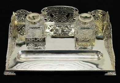 JAMES DIXON STERLING SILVER INKWELL SET