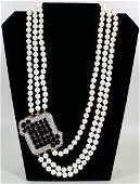 ANDREW CLUNN 18K GARNET DIAMOND PEARL NECKLACE