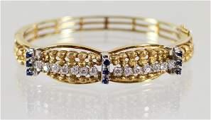 18K GOLD DIAMOND & SAPPHIRE BRACELET