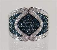 10K BLUE  WHITE DIAMOND RING