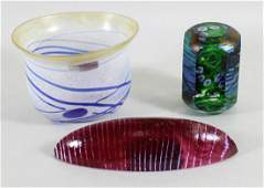 3 PC ART GLASS BOWL & PAPERWEIGHTS