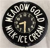 MEADOW GOLD MILK ICE CREAM ADVERTISING CLOCK