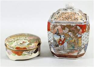 JAPANESE SATSUMA TEA CADDY & LIDDED BOX