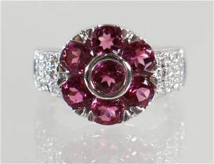 14K PINK TOURMALINE & DIAMOND RING