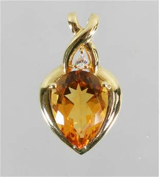 18K YELLOW CITRINE & DIAMOND HEART PENDANT