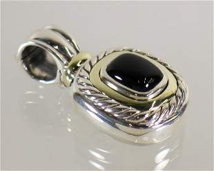 DAVID YURMAN STERLING & 14K BLACK ONYX PENDANT