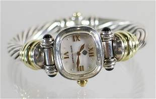 DAVID YURMAN 14K & STERLING MOTHER OF PEARL WATCH