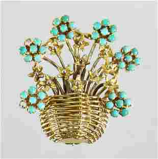 18K FLOWER BASKET BROOCH