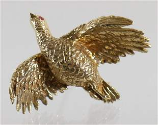 14K YELLOW GOLD BIRD BROOCH