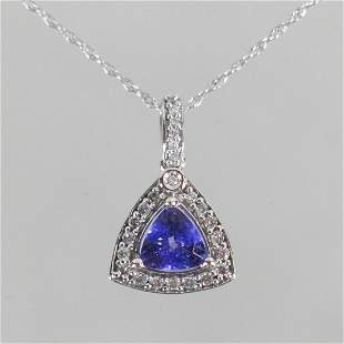 14KT WHITE GOLD TANZANITE & DIAMOND NECKLACE