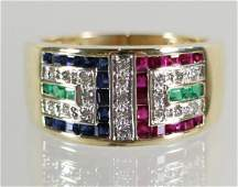 14K DIAMOND SAPPHIRE EMERALD & RUBY GREEK KEY RING
