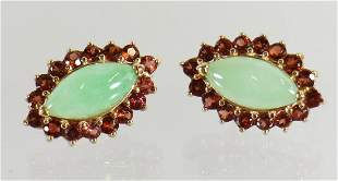 14K JADE & GEMSTONE EARRINGS