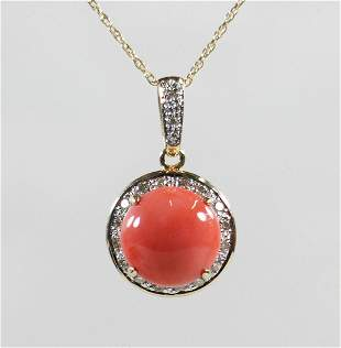 LEVIAN 14K CORAL & DIAMOND PENDANT NECKLACE
