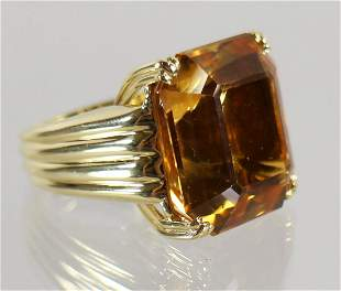 VINTAGE 18K YELLOW GOLD MADEIRA CITRINE RING